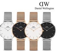 Wholesale Mesh Watches - 2017 top luxury brand Daniel women men Wellington's fashion dw Lovers women steel mesh gold mens watches montre femme relojes