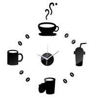Wholesale Wall Coffee Clocks - Wholesale- 2016 3d diy acrylic style coffee sale new wall clock set watch clocks quartz geometric needle single face free shipping