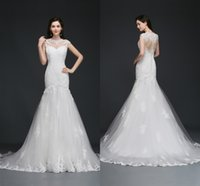 Wholesale Lace Back Wedding Dress Sale - Sales Cheap Lace Mermaid Wedding Dress Sheer Jewel Neck Illusion Back Wedding Gowns with Appliques Real Photo vestido de festa CPS756