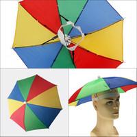 Wholesale sunny hats - Factory Sale-4 Colors Rainbow Umbrella Hat Cap Sun Shade Camping Fishing Hiking Festivals Outdoor Brolly 50pcs