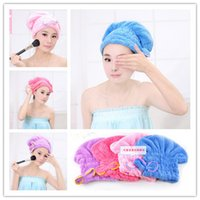 Wholesale Magic Hair Dry Drying Towel - Microfiber Magic Hair Dry Drying Turban Wrap Towel Hat Cap Quick Dry Towel Quick Dry Shower cap