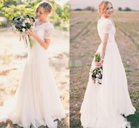 Wholesale empire style wedding dress chiffon resale online - 2019 Garden Country Style Cheap Wedding Dresses A Line Lace Short Sleeves V Neck Sweep Sash Chiffon Bridal Gowns Cheap