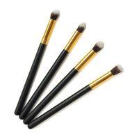 Wholesale Round Eye Brush - HOT 4pcs Pro Foundation Blush Blending Eye shadow Makeup Brush Cosmetics Flat Round Angled Tapered Top Brush