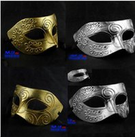 Wholesale Halloween Maske - Retro Roman gladiator Halloween party maskse man woman children Mardi Gras Masquerade maske Gold and Silver available