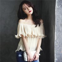 Wholesale Tube Ruffle Top Dress - 2016 Korea Summer Word Lead Lotus Leaf The Edge Of The Chiffon Shirt Suit-dress Easy Sexy Fragrant Dew On The Shoulder Clothes Tube Top