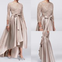 Wholesale Cheap Chic Long Evening Dresses - Chic Champagne A-line High Low Mother Of The Bride Dresses Sequined Lace Top Long Sleeves Dresses Evening Wear Cheap Wedding Guest Dress