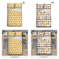 Wholesale Kids Pillow Cases - Emoji Bedding Set Cute Expression Duvet Cover Set Printed Pillow Cases Bed Cover Sheet For Kids 3pcs set OOA2703
