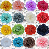 Wholesale Lace Fabric Wedding Dresses China - Peony Flower Corsage Brooch Pins Fabric Large Female Head Lace Clip Hair Accessories Seaside Resort Beach Bride Wedding Dress Women Jewelry