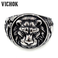 Wholesale Stainless Ring Lion - 316 L Stainless Steel ring Lion Head Stainless Steel Finger Ring 2017 Antique Men's Round fashion silver men rings hot sale VICHOK