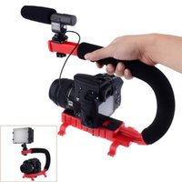 Wholesale C Shape flash Bracket holder Video Handle Handheld Stabilizer Grip for DSLR SLR Camera Phone for Sports Action Camera AEE Mini DV Camcorder
