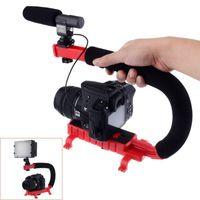 Wholesale Mini Sports Dv Video Camera - C Shape flash Bracket holder Video Handle Handheld Stabilizer Grip for DSLR SLR Camera Phone for Sports Action Camera AEE Mini DV Camcorder