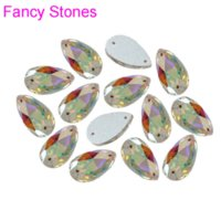 Wholesale Droplet Sew Stones - 72pcs 7x12mm Super Shine Flatback Droplet Crystal Stones Crystal AB Fancy Dropwater Pear Shape Sew On Rhinestones With 2 Holes M63189