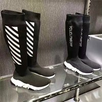 Wholesale Cheap Flat Knee Boots - Name Brand Kanye West Speed Trainer Stretch-Knit Long Boots Woman Fashion Designer Slip On Sock Boot Cheap Casual Shoe Woman Trainers Arena