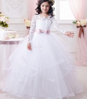 Wholesale Cheap Vest Wrap - Long Sleeve First Communion Dress for Girls 2016 Lace Ball Gown Flower Girl Dresses White Cheap Wedding Party Pageant Gowns