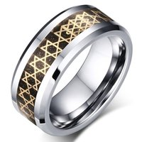 Wholesale Unique Tungsten Rings - 8mm Hexagram tungsten steel ring for Men Wedding Band Cool 8MM Unique Male Ring Size 7-12