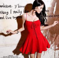 ingrosso cinghia di spaghetti del vestito da cocktail del merletto nero-Vestito da cinghia sexy delle nuove donne Lace Up Bubble Skirt Vestito da fazzoletto della fasciatura del partito della signora Vestito casuale dai vestiti bianco rosso nero