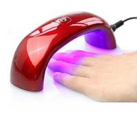 lâmpadas uv venda por atacado-9 W USB LED Lâmpada para Secador de Unhas Mini Lâmpada Prego Rainbow Em Forma de Cura para UV Gel Polonês Nail Art