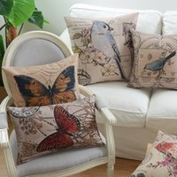 Wholesale Retro Flower Cushion Covers - Free shipping gift elegant retro bird butterfly bee flower pavilion pattern Cushion Cover home cafe hotel boat decorative throw pillow Case