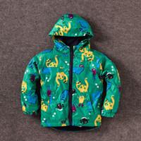 Wholesale Kids Rain Long Coat - Fashion Cute Kids boys dinosaur Wind Rain Jacket Hooded Long Sleeve Windbreak children Waterproof Jackets Ourwear Coat winter warm coat C-2