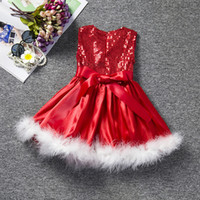 Wholesale Thanksgiving Boutique Bows Wholesale - 2016 latest design baby girl X'mas holidays costumes dresses Children christmas dress feather sequined red warm dress for girls boutiques