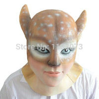 Wholesale Latex Mask Girl - Beauty Deer Demon latex Mask Head Halloween Masks For Sexy Women And Girl Party 10pcs lot Free Shipping