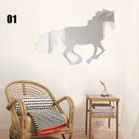 Wholesale Silver Butterfly Decal - Wall Sticker Diy Silver Modern Mirror Wall Sticker Rectangle&Butterfly Decal Home Decoration Wall Stickers Livingroom Removable Wall Sticker