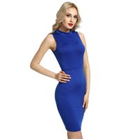 Fashion Women Pencil Dress Solid High Neck Sleeveless Cut Out Back Midi  Bandage Bodycon Sexy Club Party One-Piece Plus Size 4XL q1113 dce4694c3
