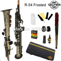 Wholesale Sax Soprano Black - Wholesale-Free shipping Genuine France Selmer Soprano Saxophone 54 Professional B Black Nickel Sax mouthpiece With Case and Accessories