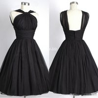 Wholesale Dresses Empire Waist Short - Black Short Bridesmaid Dresses 2016 Halter Sleeveless Empire Waist A Line Cheap Maid of Honor Dress Plus Size Real Photo Wedding Party Gowns