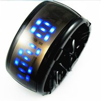 Wholesale led digital watches for ladies resale online - 2017 New style LED Metal Lava Digital Watch Bracelet Binary Wristwatch For Children s watch Ladies