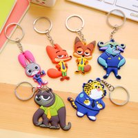 Wholesale Red Fox Cartoon Characters - Crazy Animal City Zootopia figures keychain ring PVC Keychain Ring Fox Nick Rabbit Judy Pendant Doll Toy Hanging Drops gifts for kids