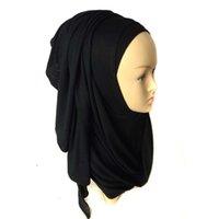 Wholesale Oversized Knitted Scarf - Plain Jersey Slip Hijab Slip 2016 Women Oversized Neck Scarf Viscose Shawl Wrap 28 colors