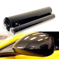 Wholesale car roof wrap - 50x200cm DIY Car Sticker 5D Carbon High Glossy Film Vinyl Wrapping Auto Carbon Fiber Vinyl Film Fibra de Carbono Black