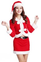 Wholesale Sexy Girl Santa Lingerie - Christmas dresses for girls Sexy Miss Santa Claus Velvet Set four Pieces Uniforms Outfits Christmas sexy lingerie
