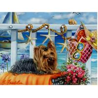 Wholesale Puppy Paintings - Diy diamond painting Cute puppy cross stitch wall sticker embroidery square diamond animal decoration 40x30cm HWB-816
