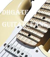 белые гитарные струны оптовых-Пользовательские старинные белый крем Ингви Мальмстин зубчатый клен гриф большая голова ST 6 строка электрогитара гитара падение доставка