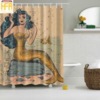Wholesale Wholesale Bath Decor - Bathroom Shower Curtains Creative Bathroom Decor Digital Printing Mermaid Square Bath Curtain With Hooks Customized Available 2 Sizes