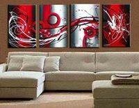 Venta caliente moderna línea de pintura al óleo de la flor del pavo real en la lona 4 Panel Arts Set Home Abstract Wall Decor imagen para la sala de estar