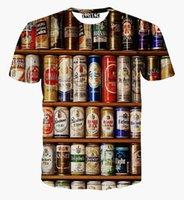 can can toptan satış-Kadın erkek yaz tarzı rahat t shirt harajuku Bira kutuları Paparazzi gömlek 3d tişörtlü kısa kollu tees crewneck tişörtleri tops