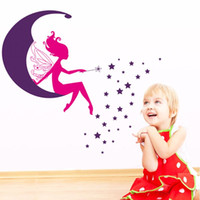Wholesale Wall Decals Baby Girl - 100pcs Pink Princess angel stars moon girls room decals Kids room nursery wall sticker AY7104. home decals baby room home decoration 2.5
