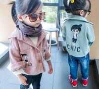 Wholesale Girls Corduroy Jacket - 2016 Autumn New Girl Coat Corduroy Embroidered Long Sleeve Fashion Jacket Children Clothing 2-5Y QY8656