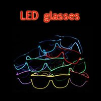 Wholesale Birthday Plastic Glasses - LED Party Glasses Fashion EL Wire glasses Birthday Halloween party Bar Decorative supplier Luminous Glasses Eyewear