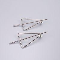 Wholesale Triangle Dangle Earrings Fashion - Stick In Triangle Circle Statement Earring Woman Minimal Brass Fashion Studs Gold Imitation Rhodium Optional OEM ODM