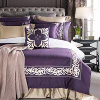 taies d'oreiller brodées de luxe achat en gros de-4 / 7pcs coton égyptien noble luxe luxe violet Literie ensemble housse de couette brodée roi reine taille ensemble drap de lit taie d'oreiller