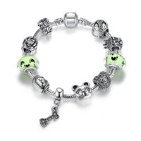 Wholesale European Charm Dangle Green - Fashion Pandora Style Charm Bracelets with Light Green Murano Glass Beads & Dog Bowl Charms & Bone Dangles European Bangle Bracelets BL133