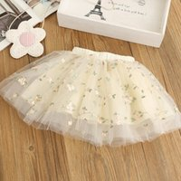 Wholesale Wholesale Cotton Maxi Skirts - INS Girls Tutu Skirts embroider Flower Children Tutu Skirts Toddler Tiered Dress Ballet Tutu Maxi Skirts Ball Gown Baby Clothing