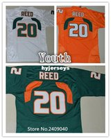 Wholesale Boys Football Jersey Xl - 2016 New Youth #20 Ed Reed Orange Green White Color Kids College Football Jerseys Stitched Size S,M,L,XL football