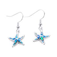 Wholesale Blue Opal Silver Earrings - Women Starfish Earrings Blue Fire Opal Earrings 925 Sterling Silver Filled Earrings For Women Fashion Wedding Jewelry