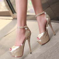 Wholesale black gold platform pumps - Glitter sequined ankle strap high platform peep toe pumps party prom gown wedding shoes women sexy high heels size 34 to 39