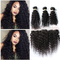 Wholesale 8A Indian Deep Curly Hair With Lace Frontal Closure Ear To Ear Lace Frontal With Baby Hair And Human Hair Bundles